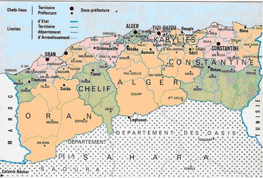 Les départements français d'Algérie